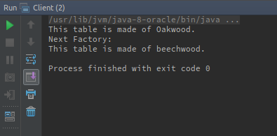 Abstract Factory console output
